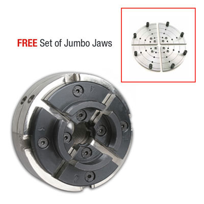 Utility Grip 4 Jaw Chrome Lathe Chuck System: includes 2 sets of jaws and FREE 8 in. Jumbo Flat Jaws