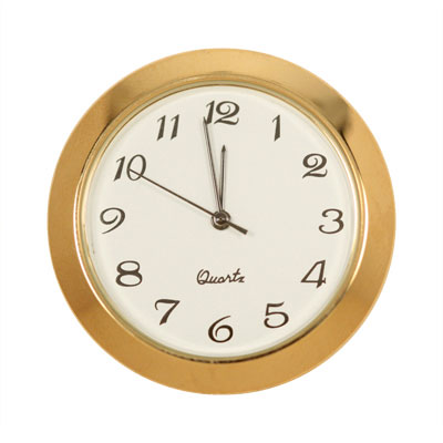 1-7/16 in. Mini Clock -  Ivory face, Arabic Numerals