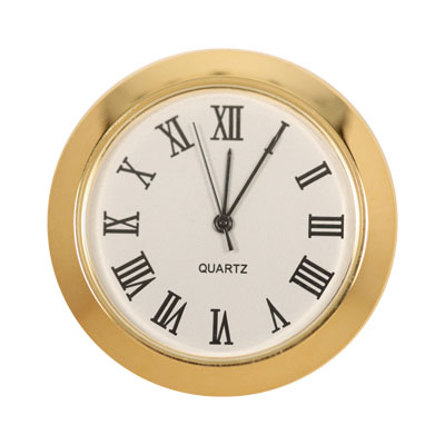 1-7/16 Mini Clock - White face, Roman Numerals