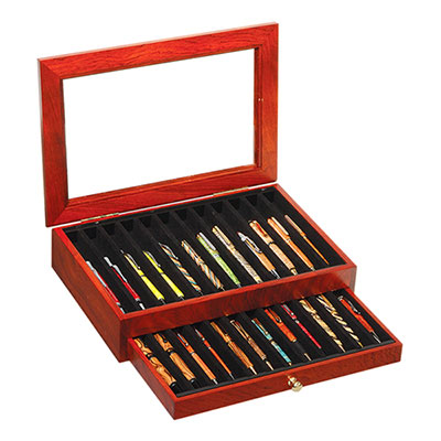 24 Pen Rosewood Pen Display Case