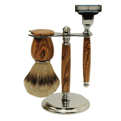 Deluxe Shaving Starter Set with Olivewood Blanks