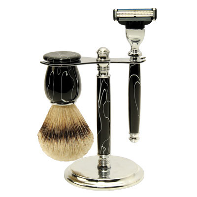 Deluxe Shaving Starter Set with Black Acrylic w/ White Stripe Blanks
