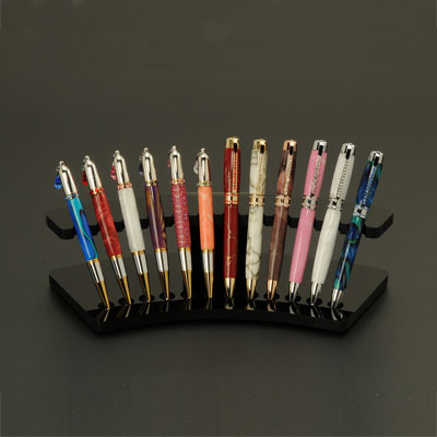 12 Pen Black Acrylic Pen Display Stand
