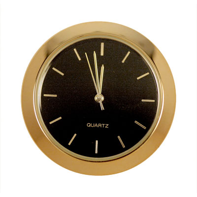 1-7/16 in. Mini Clock - Black Face, Gold Indicators