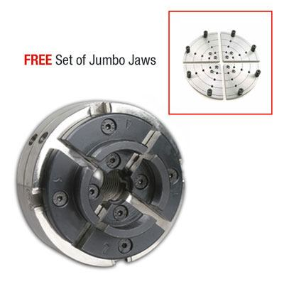 Utility Grip 4 Jaw Chrome Lathe Chuck System: includes 2 sets of jaws and  FREE 8 in  Jumbo Flat Jaws