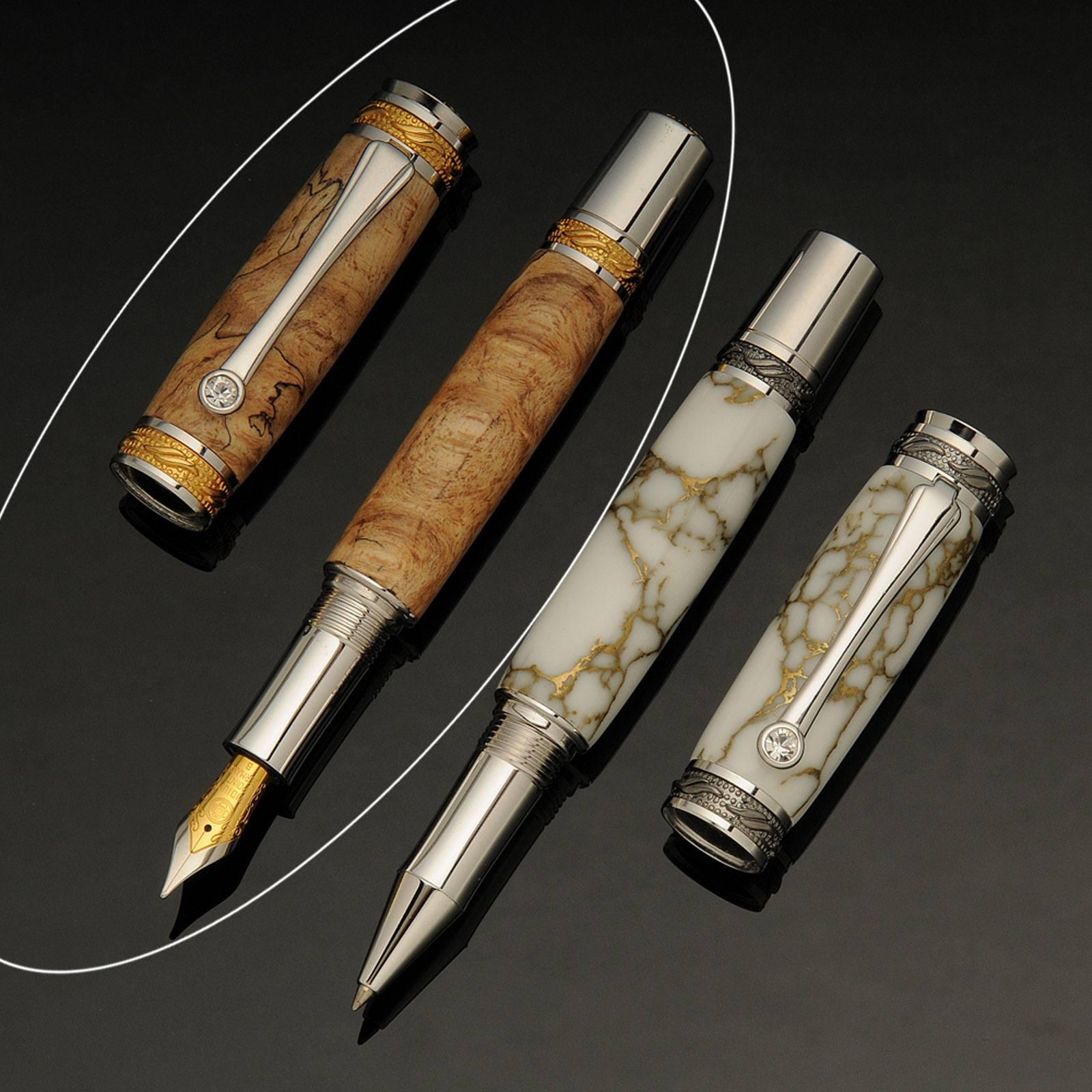 Tycoon Fountain Pen in Rhodium Made from Bubinga