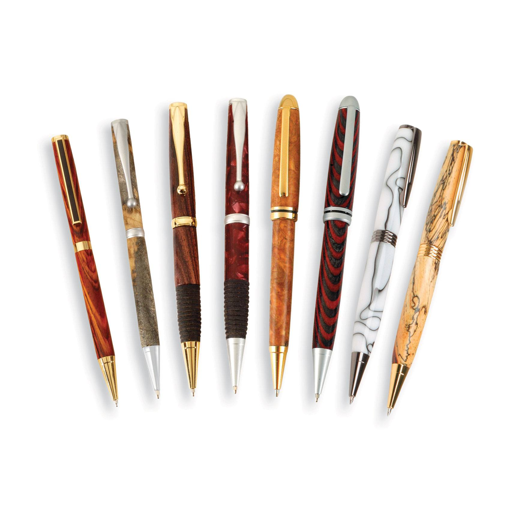 7mm Pen Kit Bundle 8 Pen Kits And 3 Sets Of Free Bushings And One 10 Pack Of Cocobolo Blanks