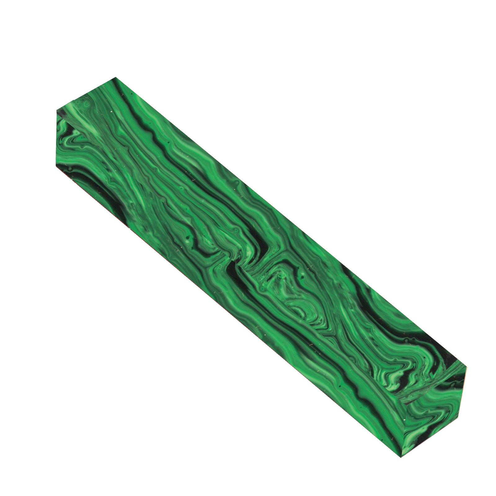 Tru Stone Malachite Green 3/4 in  x 3/4 in  x 5-1/2 in  Pen Blank